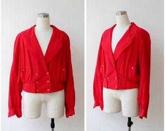 Silk bomber jacket / silk red jacket M / 1990s slouch jacket medium