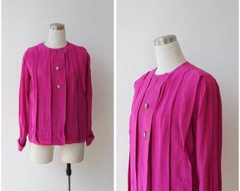 Fuchsia Pink Silk Blouse by Ann Klein Oversize Button Front Silk Top