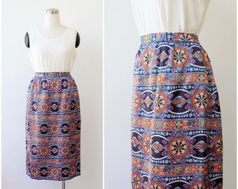on SALE. 1970s Vintage Ethnic Mod Skirt Multicolored Boho Skirt High Waist Psychedelic Print  Small Medium