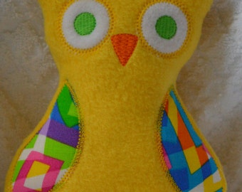 Handmade Stuffed Yellow Fleece Owl