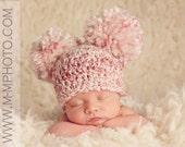 Crocheted Baby Pom Pom Beanie, Baby Double Pom Pom Hat, Choose Any Color, Newborn Photography Prop
