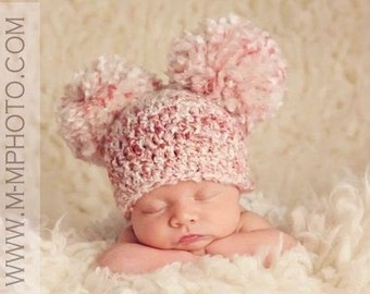 Crocheted Baby Pom Pom Beanie, Baby Double Pom Pom Hat, Choose Any Color, Newborn Photography Prop