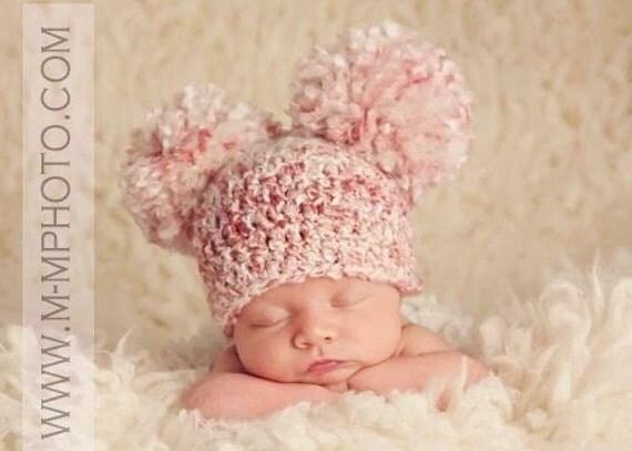 Crocheted Baby Pom Pom Beanie, Baby Double Pom Pom Hat, Newborn Pom Pom Hat, Baby Boy Hat, Baby Girl Hat, Newborn, Newborn Photography Prop