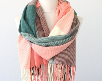 Plaid scarf tartan scarves winter wrap blanket scarf chunky scarf green and salmon scarf fall fashion scarves for women fringed scarf
