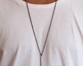Silver Geometric Pendant Man Jewelry Unique Rustic Necklace