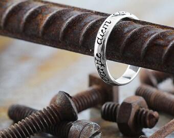 Carpe Diem Ring Sterling Silver Script Rings Mens Wedding Band Sets