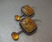 Cherry Creek Jasper and Citrine Sterling Silver Handmade Earrings