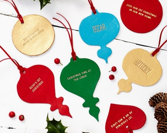 Personalised Leather Christmas Decoration