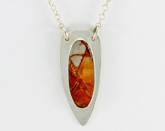 Handcrafted Pendant Sterling Silver and Red Creek Jasper Natural Stone Abstract Landscape Design Contemporary Artisan Jewelry 55221162123015