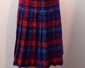 Sale Valentines 1980s Pleated, Plaid Wool Knee Skirt by Crazy Horse, Size S/M, Blue/Purple/Red, #54553