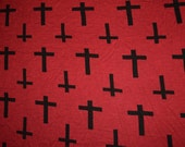 1 yard Burgundy Black Crosses Rayon Jersey Knit Fabric Stretch material stretchy cross crucifix oxblood dark red wine gothic goth vampire