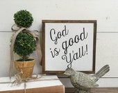 GOD IS GOOD 8 X 8 White with Black Sign Farmhouse Farm Style Black and White