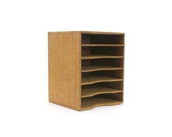 vintage wooden dovetailed 6-shelf kingsley machine co. wooden storage cabinet