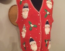 Vintage Red Busy Ugly Christmas Vest  ~ Sants FULL 3 D Beards~ Holiday Party Sweater VEST ~ Size large