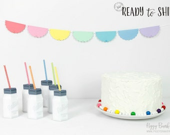 Pastel Rainbow Scallop Garland - Medium : Handcrafted Rainbow Party Decoration   Unicorn Party   Baby Shower   Art Party   READY to SHIP
