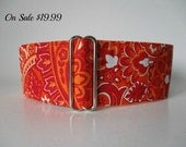 Orange Martingale Collar, 2 Inch Martingale Collar, Paisley Martingale Collar, Paisley Dog Collar, Orange Dog Collar, Sighthound Collar