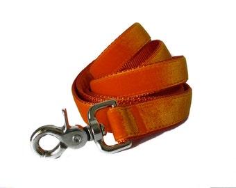 Velvet Dog Leash, Orange Dog Leash, OrangeVelvet Leash, 5 foot, Dog Lead, Orange Velvet Lead, Orange Leash