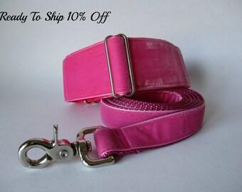 Velvet Martingale Collar and Leash, READY TO SHIP, Pink Martingale Collar, Velvet Dog Collar, Hot Pink Dog Collar, Greyhound Collar