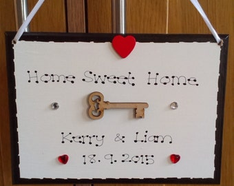 Personalised Home Sweet Home First New House Warming Moving Couple Gift Plaque Sign