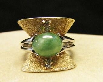 On Sale Vintage Estate Art Deco 14K White and Yellow Gold Jade Diamond Ring