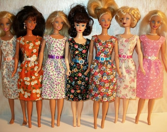 Handmade Barbie clothes - mixed lot of 7 floral sheath with belts