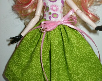 Handmade Monster and Fairy Tail doll clothes - white, pink and green print dress