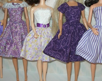 Handmade Barbie clothes - mixed lot of 5 purple print dresses