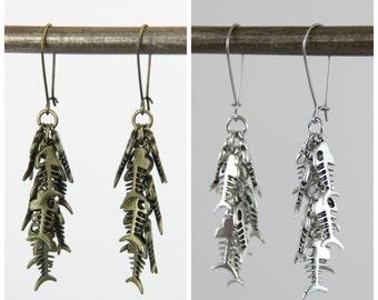 Antique Fish Tales - Fun Fish Bone Skeleton Brass Metal Charm Earrings Neutral Beach Summer Vacation Ocean Dangle Earrings