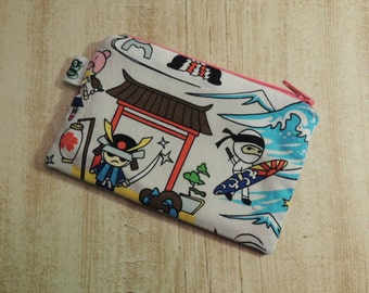 Padded Zip Pouch purse Gadget Coin Case -Samurai Anime Asian print