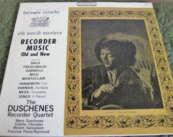 Vintage Vinyl Record Album Duschenes Recorder Quartet Recorder Music Old And New Baroque Records 2857