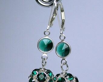 ON SALE Emerald Green Crystal Ball Earrings - Swarovski Crystal Fireball Earrings in Dark Green with Sterling Silver Leverbacks