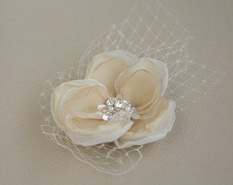Bridal hair flower with tulle, Bridal hair accessories, Wedding hair Flower, Champagne Wedding hair flower, wedding hair accessory