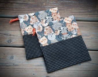 Kitty cat drawstring gift bags, storage bags, fabric storage bag