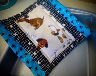 Doggie potholder, Dog hot pad, Dog mug rug, tea rug trivet