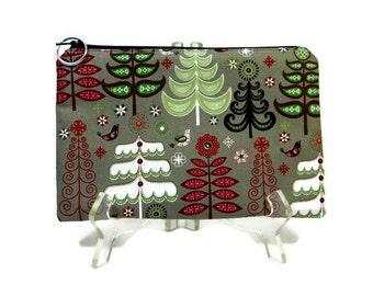 Zipper Pouch, Winter Trees Pouch, Christmas Pouch, Zip Cosmetic Bag, E-Cig Pouch, Pencil Pouch, Zipper Bag, Padded Zip Bag, Accessories Bag