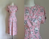 vintage 1930s dress set - GIFTED PEONY pink novelty print blouse & skirt set / M