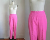 "50% OFF...last call // vintage 1960s high waist pants - BARBIE pink cigarette pants / M / 28"" waist"