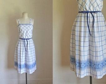 vintage 1970s sundress - PICNIC PERFECT cotton day dress / XS-S