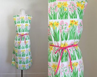 vintage 1960s novelty print dress - VESTED GENTRESS daffodil dress / L