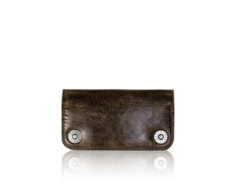 iPhone 6, iPhone 7 RETROMODERN aged leather wallet - - DARKBROWN
