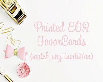 Printed EOS favor cards, EOS favors, baby shower favors, favors, bridal shower favors