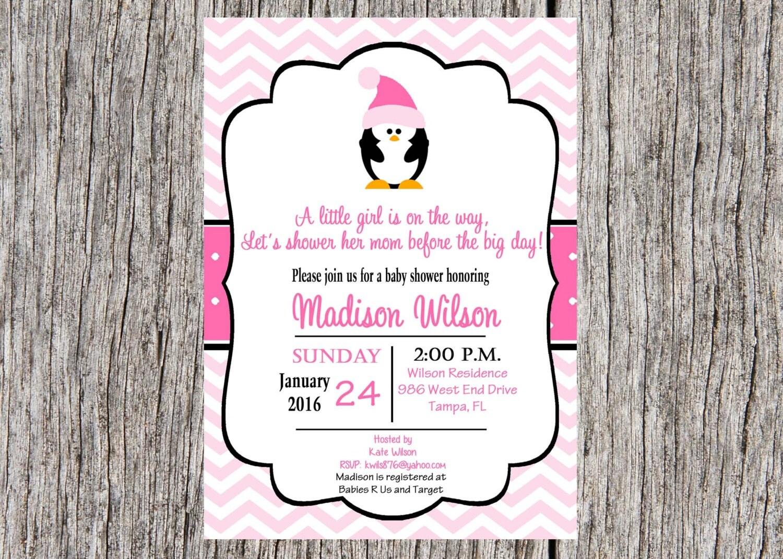 penguin baby shower invitation baby girl shower by printyourevent