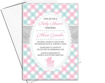 aqua and pink baby shower invitations for a girl with baby carriage stroller   printable or printed - WLP00753