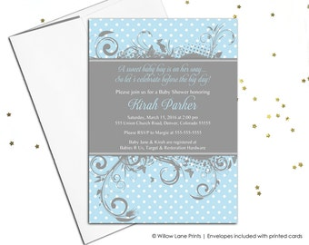 custom baby shower invitations for baby boy shower - blue gray baby shower invites printable or printed - unique invitations for boys (756)