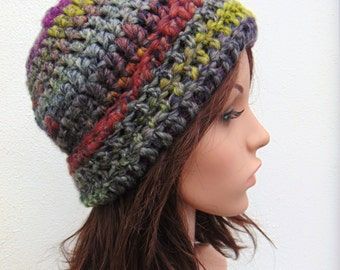 Multicolour Hat Warm Hat Multicolor Chunky Beanie Hat Womens Hat Crochet Hat Hand Crocheted Hat Wool Crochet Beanie Hat Handmade in Ireland
