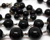 Vintage Black Glass Beaded Necklace with Metal Joinery