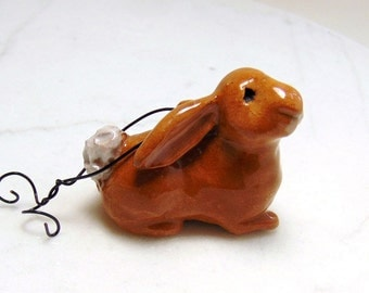 Brown Rabbit Ornament - Rabbit Figurine - Cotton Tail - Bunny Rabbit - Easter Decoration - Ceramic Figurine - Clay Animal