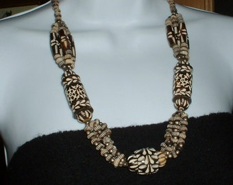 Vintage Ethnic Bone Necklace Heavy Hand Carved Black & White beautiful Detail Elaborate carving Tribal Necklace
