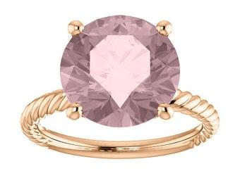 Morganite Rose Gold Engagement Four Carat Certified Gemstone