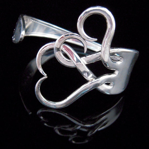 Silver Fork Bracelet in Original Intertwining Hearts Design